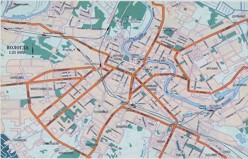 Карта Вологды с улицами